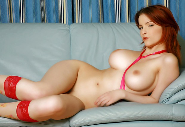 redhead porn featuring huge titties
